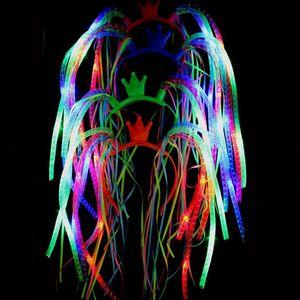 Led Noodle Diadema Flash Party Rave Disfraz Disfraz Bling Light Up Trenzas Crown Hairband Diademas Festivo de Navidad Favorece WX9-941