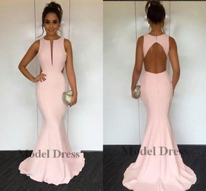 Rosa da sereia Vestidos 2018 Keyhole Open Back até o chão Vestidos Vestidos de festa Prom partido Bridesmaids vestido barato