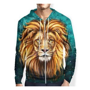 Felpe con cappuccio Lion Zipper Camicie uomo / donna stampate con cappuccio 3d Felpe casual divertenti Felpa con cappuccio tie-dye Felpa unisex Zip up top S-5XL