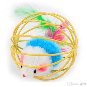 6 см Мини мило мышь в клетке мяч дразнить кошка игрушка многоцветный весело свет игрушки для домашних животных 1 8tt C R