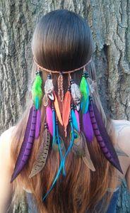 Böhmen Artzusätze Frauen Mädchen Pfauenfeder Stirnband Hippie Haarfrauen-Kopfschmuck Kopfbedeckung Zopf Haarband Kopf Seil TO413