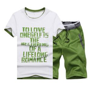 2018 Yaz Erkekler Set Mens Eşofman T-shirt + Şort Pantolon Rahat Kazak erkek Spor Takım Elbise Yaz Stil Erkekler Set Sweatshirt