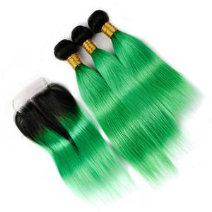말레이시아 그린 옹 브르 직선 인체의 머리카락이 닫힌 상태로 촘촘하게 덮여 있습니다. 청록색 뿌리 버진 머리카락 3 묶음
