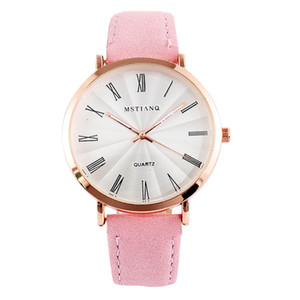 Roman characte Leather Bracelet Lady Womans Wrist Watch Gift Women Watch  Fashion Leather Fashion Causal Dress Women