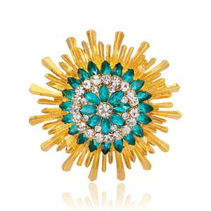 Blue Gem Sun Shaped Pin Brooch Designer Brooches Badge Metal Enamel Pin Broche Women Luxury Jewelry Wedding Party Decoration