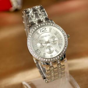 Moda Ginebra Ver Relojes de acero completo Mujer Mujer de lujo Rhinestone de acero inoxidable Ladies Casual Analógico Cuarzo Rellatos de pulsera