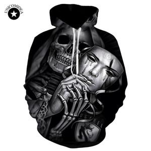 Unicomidea 3d Skull Streetwear Felpe con cappuccio Uomo Hip Hop Felpe con cappuccio Moda inverno Felpa con cappuccio Harajuku Pullover con cappuccio sottile Top