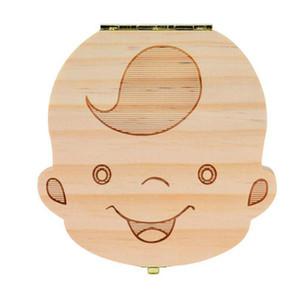 Tooth Box per Baby Save Milk Teeth Ragazzi / Ragazze Image Scatole di stoccaggio in legno Regalo creativo per bambini