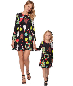 2018 autumn sales of christmas new European and American dresses, printed parentage, spot sales, factory low price promotions