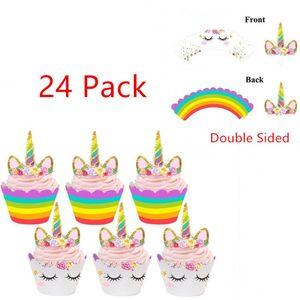 24pcs arcobaleno unicorno cupcake torta wrapper toppers baby shower bambini compleanno involucri del bigné unicorno arcobaleno cake toppers BBA257