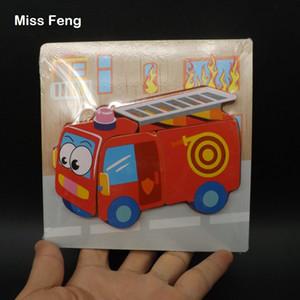 Fun Model Cognitive Matching Wooden Toys Crianças Jigsaw Gift Educação Infantil 3D Puzzle Fire Fighting Truck