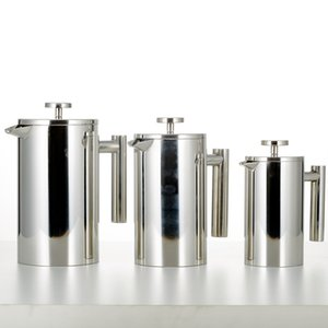 1000ml French Press Kaffee Teebereiter Double-Wall Edelstahl Spiegeloberfläche, 304 Edelstahl Isolierte Cafetiere mit dreifach fi