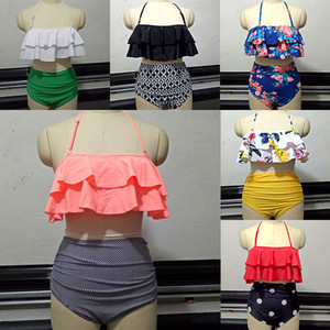 S-3XL Donne Sexy Retro Boho Balze Bikini a vita alta Chic Costume da bagno 2pz Bikini Bikini imbottite 10 Disegni WX9-647