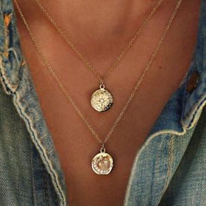Mode Vintage Bohemian Runde Polygon Mond Anhänger Halskette Kristall Multilayer Retro Ethnische jungfrau schlüsselbein Halskette Für Frauen Schmuck