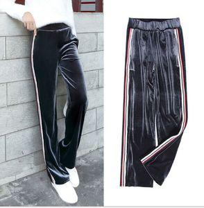 Kadın Giyim Pleuche Yan Çizgili Geniş Bacak Uzun Pantolon Moda Rahat Gevşek Sweatpants Kadınlar Streetwear Yoga Uzun Pantolon Pantolon