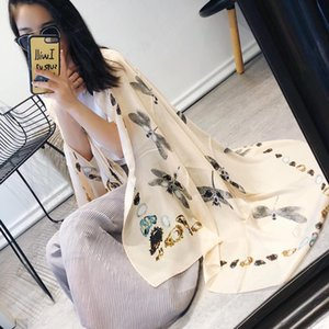 Marca design-2018 dragonfly nuevo exquisito bordado calidad superexcellent tamaño 180: 90 moda para mujer bufanda chal moda