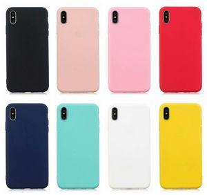 Ultra mince mat cas de TPU souple pour Iphone XR XS MAX X 8 7 6 6 S Plus cas en caoutchouc de silicone arrière plaine mince Business Phone Cover de la peau de téléphone portable
