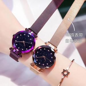 Top brand tempestato di diamanti in oro rosa signore orologio minimalista stella fibbia magnetica Moda casual Orologio Da Donna Orologio Da Polso Impermeabile