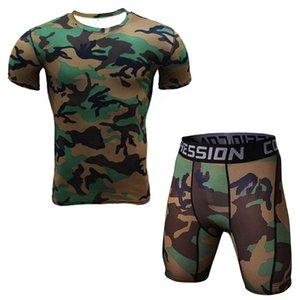 Новый 2 шт мужчины футболка и колготки компрессионный набор фитнес тренировки камуфляж 3d печать ММА горячие продажи рашгард кроссфит спортзалы одежда