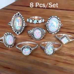 8 Unids / set anillos de plata de ley natural anillo de diamantes de imitación de fuego ópalo anillo de compromiso de boda joyería anillos simples retro