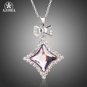 Bowknot Necklaces Jewelry for Women White Gold Color Quadrilateral Crystals Long Link Chain Pendant Necklaces Drop Shipping