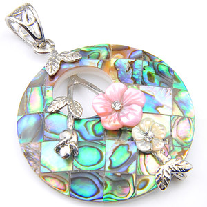 "Luckyshine Rodada Natural Abalone Shell pingentes 925 prata banhado Mulheres Flower Pendant Jewelry Unisex 1,5"" polegadas"