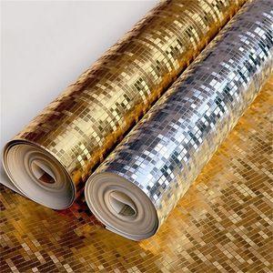 Golden Silbrig Mosaik Tapete Ktv Bar Home Dekoration Abgehängte Decke Goldfolie Wandaufkleber Nicht Selbstklebende Reine Farbe 35jr bb