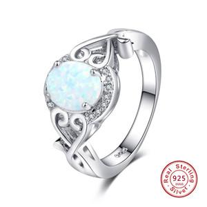 925 Sterling Silber Oval Cut Australien Feueropal Ring Hochzeit Engagement Versprechen Erklärung Jahrestag Muttertag