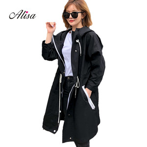 Harajuku Windbreaker 2018 New Women Long Sleeve Hooded Casual Zipper Long Trench Coat Autumn Big Size 3XL Loose Female Overcoat