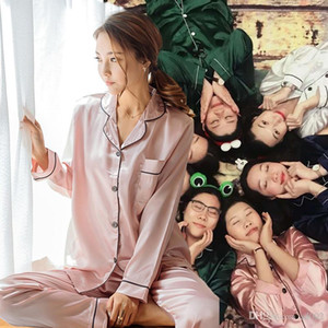 Súper gran código pijamas de seda primavera y otoño nuevo patrón de desgaste de ocio pijama conjunto de manga larga pantalones para mujeres 27nf jj