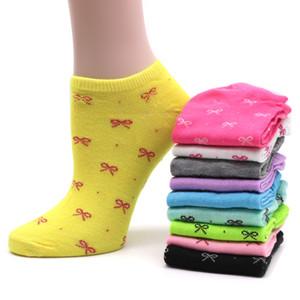 10 par de calcetines de las mujeres cortos del color del caramelo del punto calcetines lindos del arte femenino delgado del tobillo mezclas de algodón calcetines calcetines de corte bajo Chaussettes Femmes