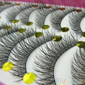 Latest 10 Pairs Makeup Beauty False Eyelashes Extension Long Thick Cross Eye Lashes