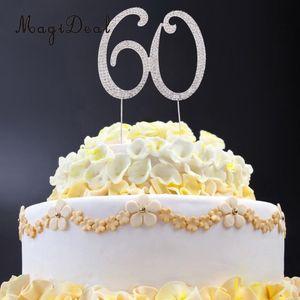 MagiDeal Crystal Rhinestone 60th Cake Topper Anniversary Birthday Party Decor