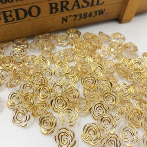 Transparente rosafarbene Blumenacrylsknöpfe des Goldrandes für Dekoration handgemachtes nähendes Zubehör des Handwerks 200pcs / set