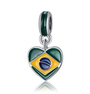 2018 Кубок мира мода посеребренная эмаль Russina Канада Великобритания ect флаги сердце дизайн сплава металла DIY Шарм fit Европейский браслет ожерелье
