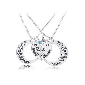 Fashion Moon Necklace I Love You To The Moon and Back Madre e figlia Ciondolo cuore Catene Gioielli moda per donne MOQ 30 set
