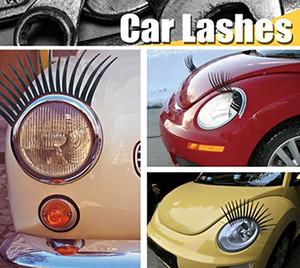Autocollant de voiture mignon cils de voiture autocollant pour phares automobile cils eyeliner 3d logo autocollant noir couleur
