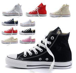 2018 neue Unisex Low-Top-High-Top Adult Damen Herren Sterne Canvas Schuhe 13 Farben geschnürt Freizeitschuhe Sneaker Schuhe Einzelhandel