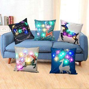 Cojín LED Feliz Navidad almohada cubierta del caso de Papá Noel del árbol de Navidad cubiertas impresas Home Room Decor cojines para el sofá del sofá del asiento
