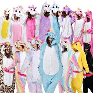 2017 Halloween Anime Pajama Set del fumetto degli indumenti delle donne pigiama di flanella Animal Stitch Panda Unicorn pigiama inverno caldo con cappuccio