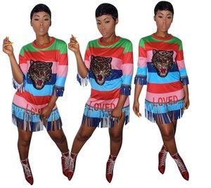 Tigre stampata a righe con nappe con laccetti che borda il vestito estivo stile 2018