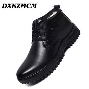 DXKZMCM ручной работы мужчины натуральная кожа зимние сапоги шерсть теплый снег мужчины сапоги лодыжки для бизнеса платье обувь