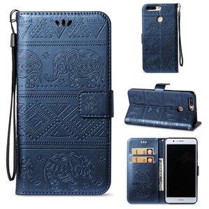 Belle Elephant Mobile Wallet Case Stand de support pour Huawei Honor V9 / DUK-AL20 PU couverture en cuir avec Card Money Pocket Bracelet de main