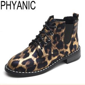 PHYANIC Marke Stiefeletten Für Frauen Schnüren Bootie 2018 Neue Mode Britischen Stil Leopard Oxford Schuhe Frau Winter Martin stiefel