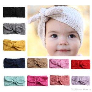 Europa infantil do bebê de malha Headbands Bunny Ears Meninas faixas do cabelo das crianças bowknot Acessórios de cabelo filhos adoráveis headwraps 12 cores 14240