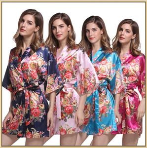 Floral Satin Brautjungfer Robe Hochzeit Robe Brautjungfer Geschenke Blumendruck Kimono Dressing Bademantel für Frau 10pcs CNY210