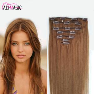 Прямой клип в наращиваниях человеческих волос натуральный цвет Remy клипсы для волос полная головка 7шт / набор 100 граграмми Бесплатная доставка по алимагическим волосам