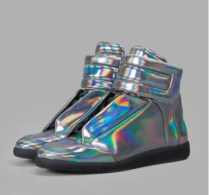 2018 yeni toptan Fransız tasarımcı marka Yeni Yüksek Üst Bootie Deri Yürüyüş sneakers Erkekler Moda Rahat Ayakkabılar Erkekler Flats MMM el yapımı ayakkabı
