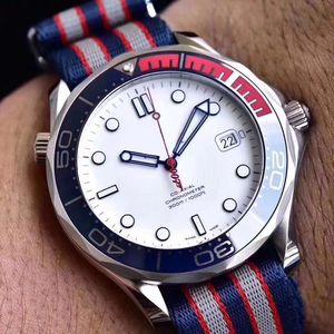 Komutan Marka 007 41 mm İzle Otomatik Movment Paslanmaz Tuval Kayış Sport Erkekler Mens watchs Saatler İzle