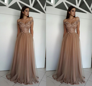 2018 Elegant Off The Shoulder Evening Dresses Flowers Pearl Tulle Floor Length Brown Formal Evening Dresses Zipper Up